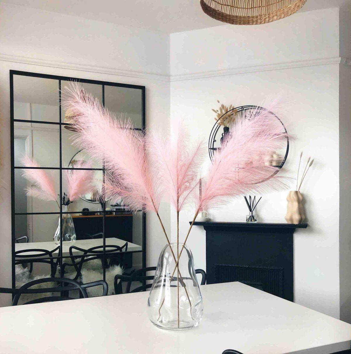 pink faux pampas, pink pampas, faux pampas grass, artificial pamaps grass, artificial flowers, vase arrangement, pink vase arrangment