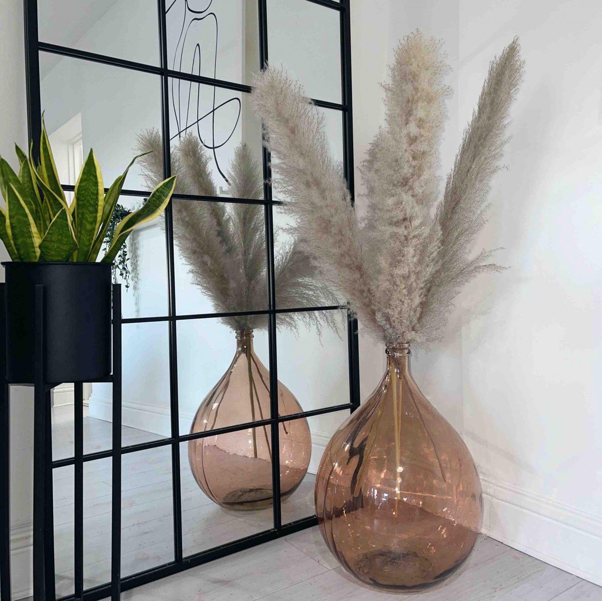 graige pampas, grey pampas, fluffy pampas, tall pampas, pampas decor, dried pampas, dried flowers , recycled glass vase