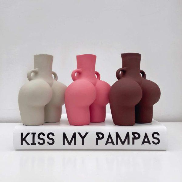 brown bum vase, chocolate bum vase, cream bum vase, beige bum vase, pink bum vase, booty vase, body vase, female body vase