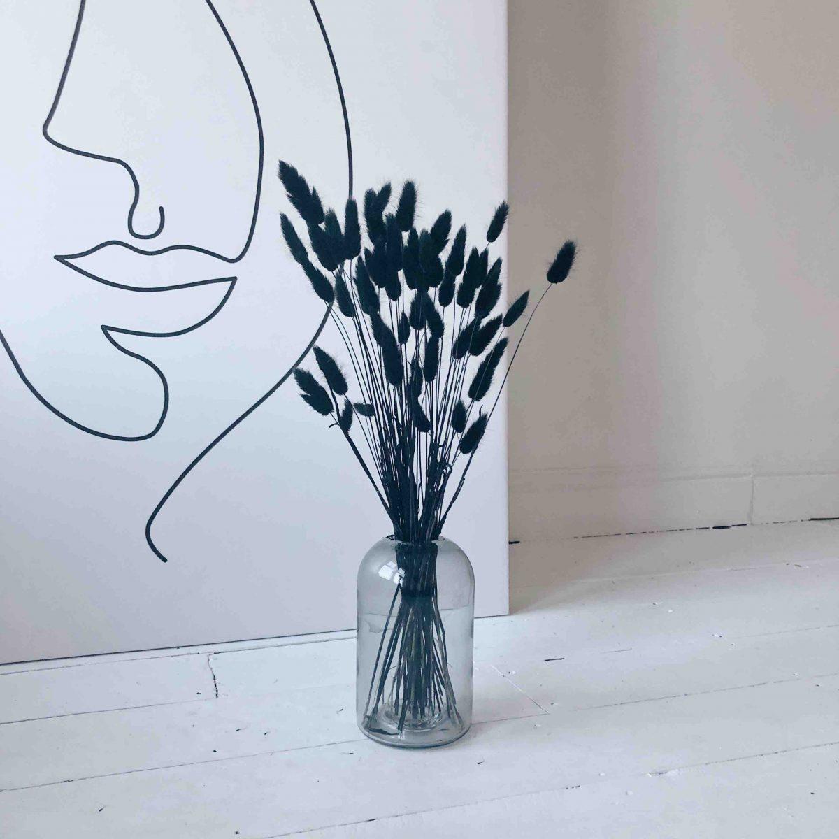 black bunny tails, black pampas, black dried flowers, rabbit tails, bunny grass, canary grass, monochrome decor, vase arrangement