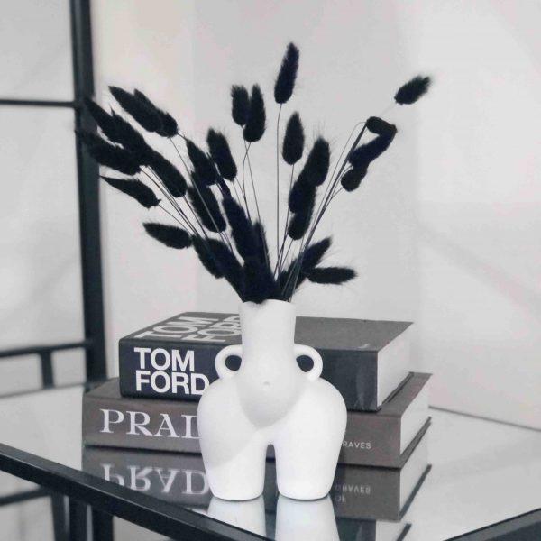 white bum vase, black bunny tails, black pampas, black dried flowers, rabbit tails, bunny grass, canary grass, monochrome decor, vase arrangement