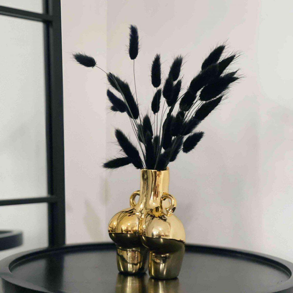 gold vase, gold bum vase, booty vase, peachy vase, black bunny tails, female body vase