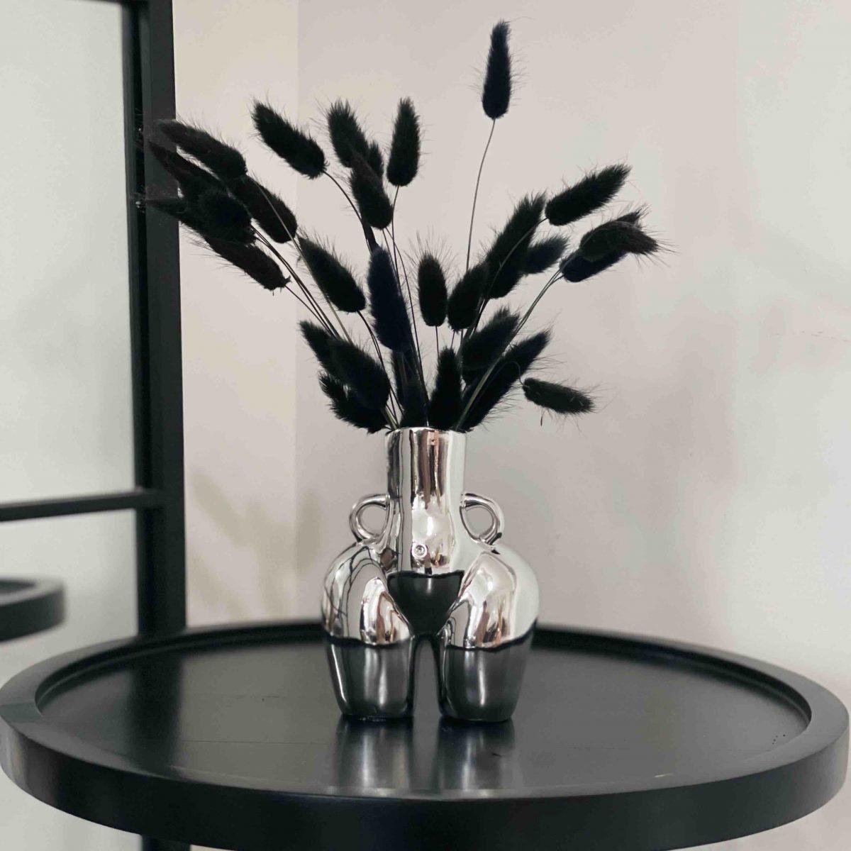 silver bum vase, booty vase, peachy vase, black bunny tails, female body vase