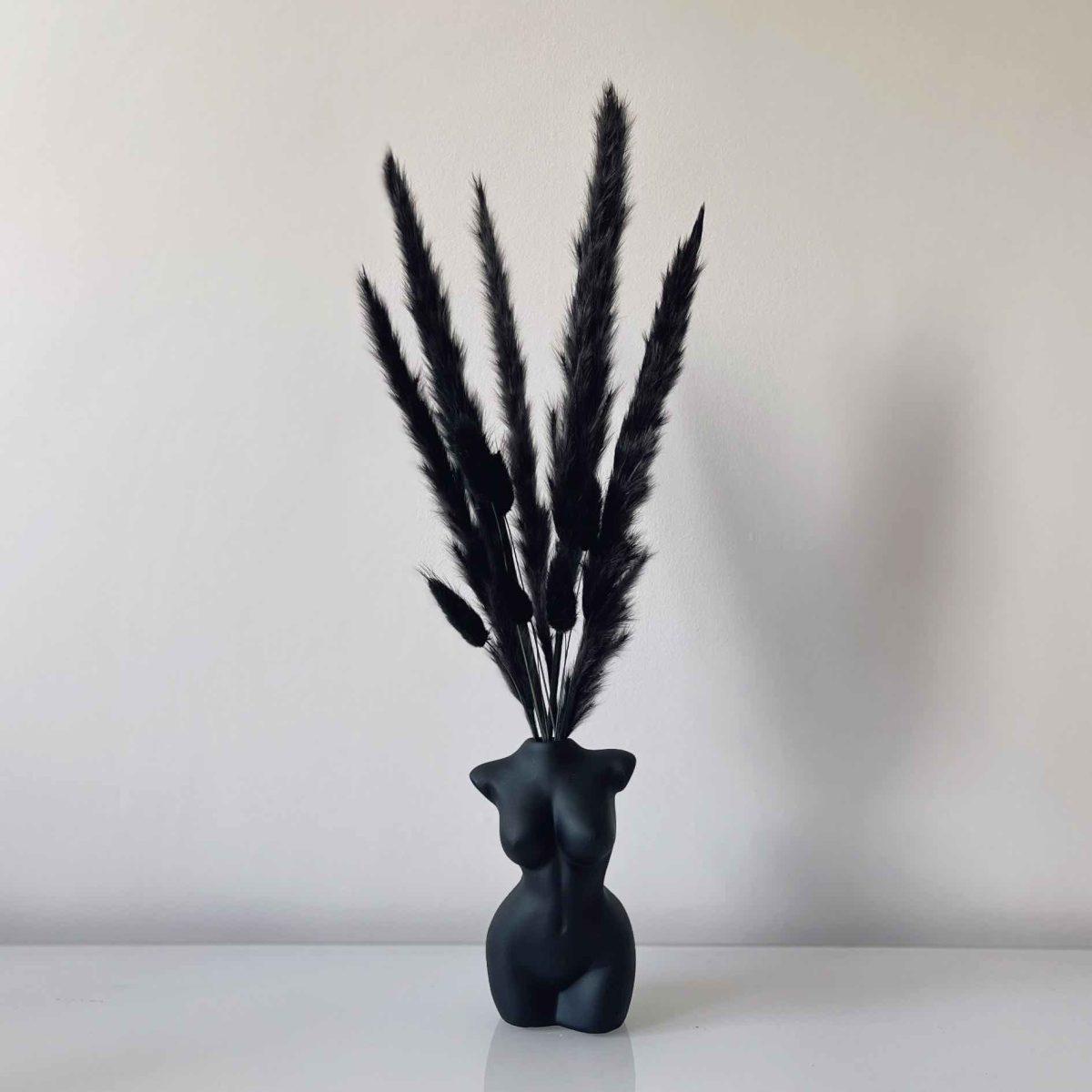 black dried flowers bouquet, black pampas, black bunny tails, black vase arrangement, vase topper, dried bouquet, pampas uk, female body vase, black body vase